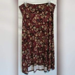 Lularoe Red with Tan Floral Maxi Skirt